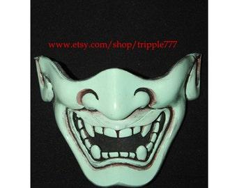 Half cover Hannya Kabuki mask, Airsoft mask, Halloween costume & Cosplay mask, Halloween mask, Steampunk mask, Wall mask, Samurai MA126 et