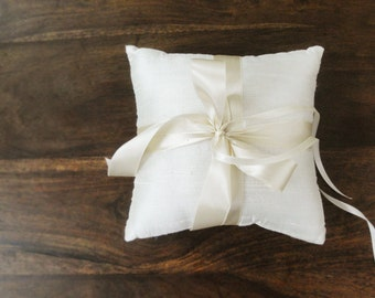 Simple Ivory Dupioni Silk Ring Pillow, Ring Bearer Pillow with Satin Ribbon Ties