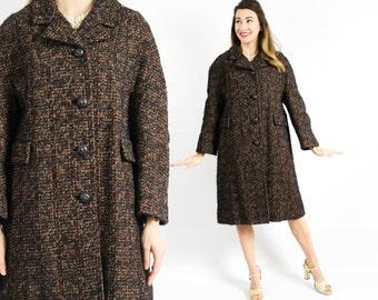 60s Boucle Wool Coat   Long Brown Wool Winter Coat   Textured Wool Coat, Large