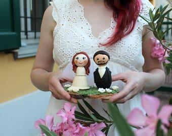 Custom wedding cake topper, bride and groom figurines, rustic wedding, custom people cake topper personalized, wood slab stand