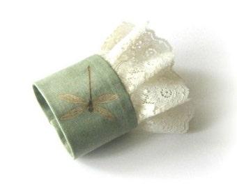 Dragonfly fabric cuff, light green fabric bracelet, ivory lace wristlet cuff