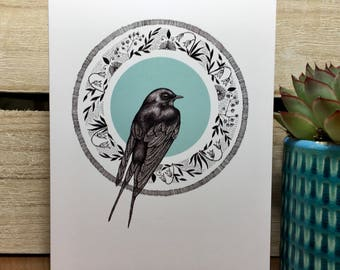 Swallow illustration greeting card - bird - nature - blank - A6 - wild - hand drawn