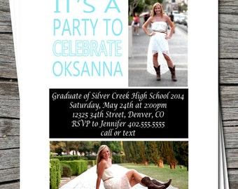 High School or College Graduation Announcement Party Open House Invitation Card   - Any Color