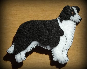 Border Collie ornament-magnet combo. Handmade embroidered felt dog gift. Unique design-great doggie gift for any occasion.