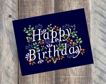 Happy Birthday Card, Flower Birthday Card, Printable PDF