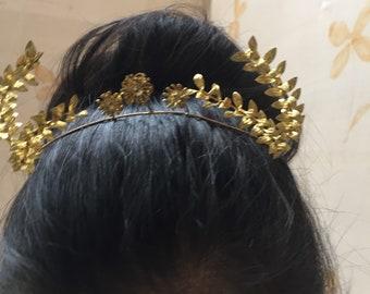 1930s vintage gold gilt myrtle tiara and boutonnière bridal set