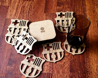FC Barcelona Coasters, Sports Team Coasters, laser cut coasters, choose your own team, sports gift,  team logo coasters,  Barcelona coasters