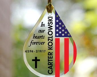Military Flag Memorial Tear Drop Personalized Glass Ornament, memorial gift, memorial ornament, Christmas, veteran -gfyL11773111-military