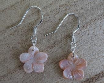 Pink Plumeria Earrings- Flower Earrings-Gifts for her- Mother of Pearl- Shell- Hawaii- Sterling Silver- Silver- Dangle Earrings-Pink
