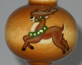 Christmas Ornament, Hand Painted Reindeer Wooden Ornament, WBO-33