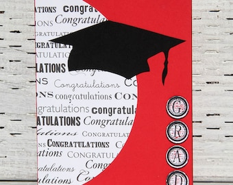 Graduation Card in Red and White with Black Cap, Handmade Congratulations Notecard, High School and College Graduation