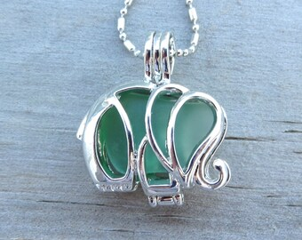 Green Sea Glass Elephant Locket by Wave of Life™