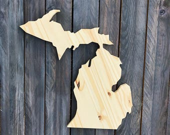 CUSTOMIZABLE Michigan, State of Michigan Wood Decor, Rustic State Home Decor, Wedding Housewarming Gift State, Other Sizes Available