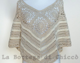 Crocheted summer poncho, cotton poncho, cotton poncho, summer poncho, crochet poncho, hand made, summer shawl, summer wrap.