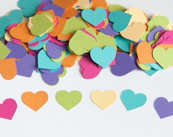 Heart Confetti, Birthday Party Decoration, Kids Birthday Party, Pastel Rainbow Confetti, Valentines,  Heart Baby Shower