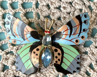 Butterfly Brooch Hand Painted Enamel Wings with Diamanté Rhinestones Body Light Blue, Green, Gold & Black Fashion Accessory Gift Boxed