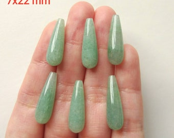 Green Aventurine Half Top Drilled Teardrops 8x18 mm/8x20 mm/7x22 mm One Pair K6488 L4071