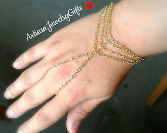 Bohemian Caged Slave Bracelet Gold Caged Hand Chain Bohemian Slave Bracelet Gold Slave Bracelet Bohemian Hand Chain