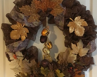 Acorn bells of fall wreath