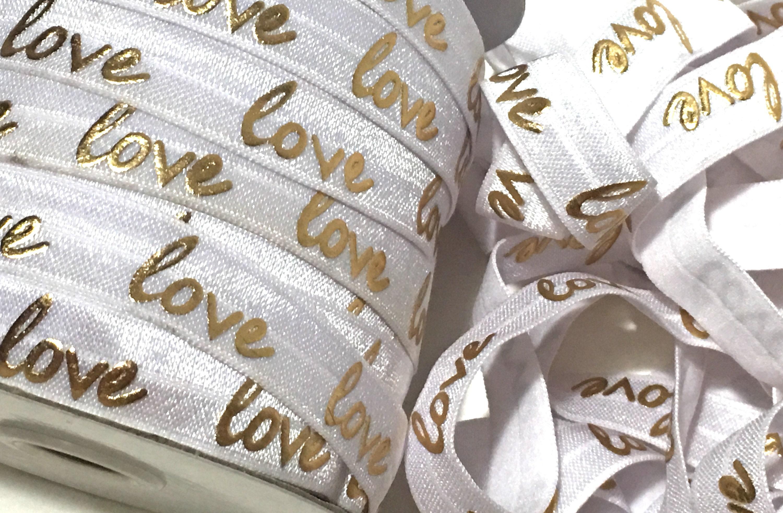 5/8 White Gold Love Fold Over Elastic Love FOE Gold Love