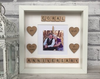 Coral Wedding Anniversary Personalised Frame, Anniversary Picture Frame, Anniversary Gift, Wedding Gift, Scrabble Art AnniversaryFrame