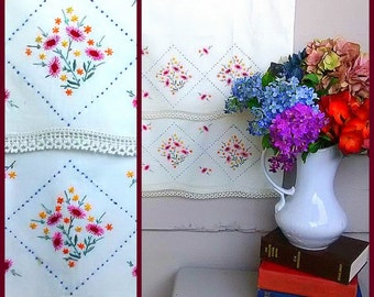 Vintage Pillowcases - Set of 2 - Hand Embroidered Flowers in Red, Pink, Light Blue, Green, Goldenrod and Yellow Floral Design with Lace Trim