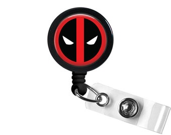 Deadpool Logo Symbol DC Photo Glass / Bottle Cap Retractable ID Badge Reel