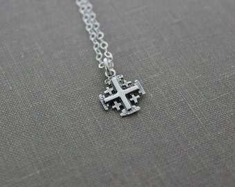 Sterling Silver Jerusalem Cross Charm Necklace - Sterling silver cable chain - Religious Faith Necklace - Simple - Minimalist