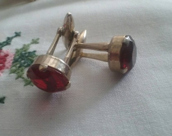 Vintage Mens Cufflinks  Ruby Red Glass Gold Tone Mens Accessories Gifts For Him