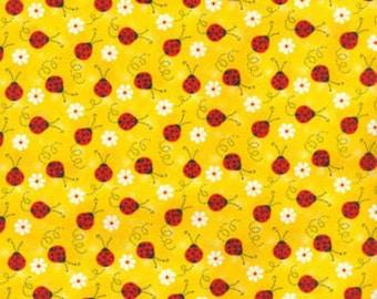 Ladybug with Daisies Cotton fabric