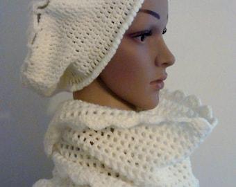 Cream white Snood crochet
