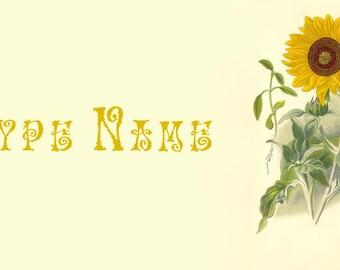 Sunflower Botanical Place Card Template