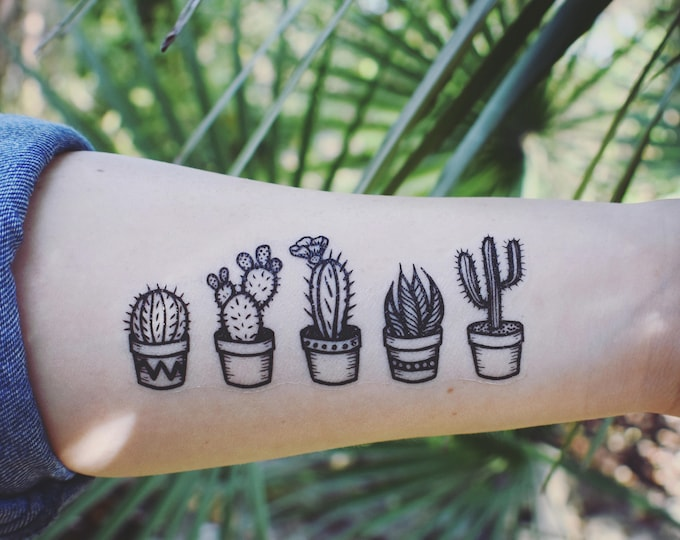Featured listing image: Potted Cactus Temporary Tattoos, Succulent House Plants, Black Line Drawing, Nature Tattoo