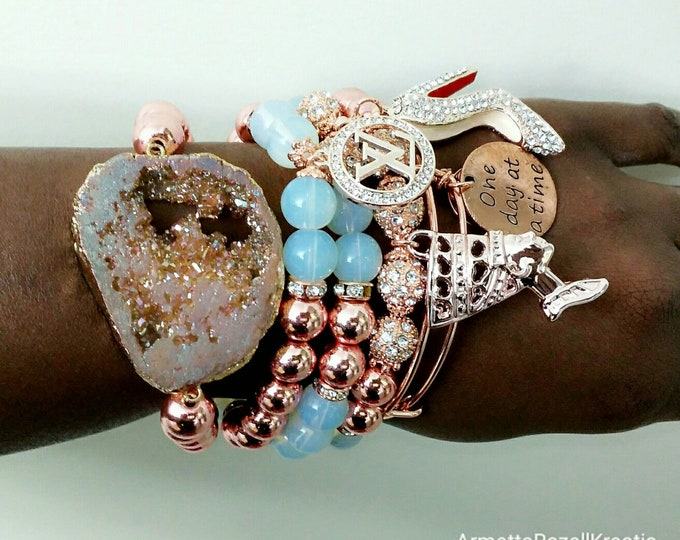 Designer Inspired Ladies Rosegold & Opal Beaded Charm Bracelet Stack, Queen Bracelet, Egyptian Queen Bracelet, red bottom charm bracelet