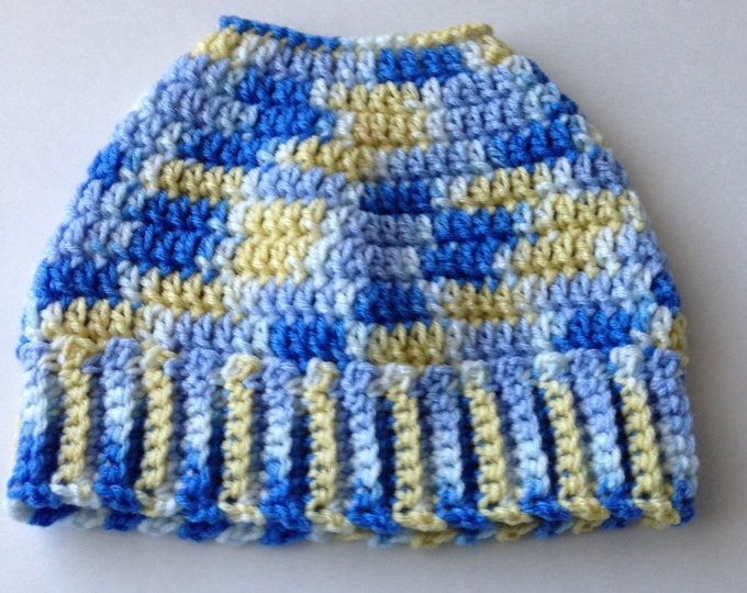 Bun Hat - Pony Tail Hat - Blue and Yellow Multi Color - Crochet Bun Beanie - Handmade Crochet - Ready to Ship