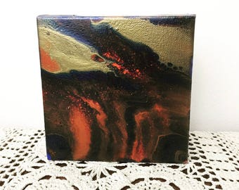 Fluid Acrylic Art, Canvas Art, Small Abstract Art, Small Flow Painting Poured on Canvas, Black Gold Home Decor, Gothic Painting, Goth Art