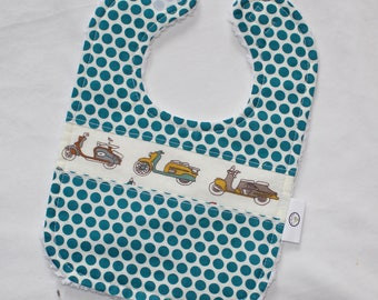 Organic Mopeds and Dots Chenille Bib