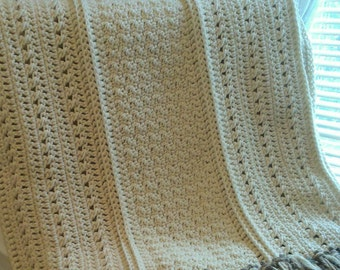 Crochet Aran Throw Blanket with Fringe, Cream Crochet Blanket, Handmade Afghan, Wedding Gift, OOAK Throw