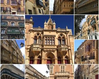 Collage of different Maltese Balconies Design -