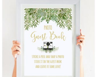 Wedding Photo Guest Book Sign Greenery Wedding Sign Garden Wedding Beach Wedding Gold Wedding Printable Instant Download, #IDWS604_10AS