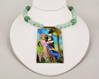 Cloisonne pendant Aventurine Jade necklace.