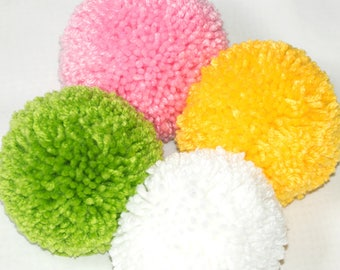 4 Extra Large Pom Poms - Huge 4+ inch Yarn Balls Made to Order in 55 Colors - Party Decorations - DIY Garland - Custom Bag or Luggage Tags