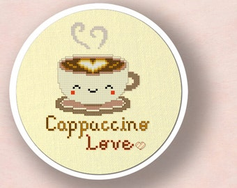Cute Cappuccino Love Cross Stitch Pattern. Modern Simple Cute Counted Cross Stitch Pattern PDF File. Instant Download
