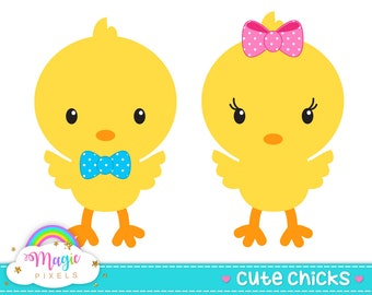 Easter chicks clip art, Easter clipart, cute chicks, baby chick clip art, Commercial Use, INSTANT DOWNLOAD