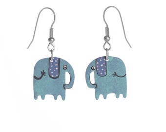 Elephant earrings stainless steel, Handpainted earrings, womens jewelry, elephant jewelry, turquoise earrings, animal jewelry, boho earrings