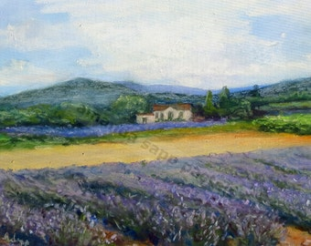 "Provence lavender field and house 5"" x 7"" giclee print of pastel painting"