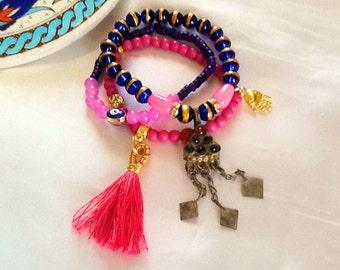 Morroccan Princess KUCHI dangle bracelet , bohemian gypsy tassel bracelet , pink and royal blue KUCHI bracelet , nomad indie bracelet