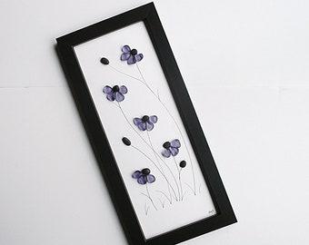 "Sea Glass Art - Tall Purple Daisies - 7""x 15.5"" Black Wall Frame - modern art, tall wall art, daisy sea glass art, beach art, pebble art"