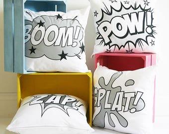 Monochrome Comic Book Cushion Cover - Personalised Pop Art Cushion - Monochrome Nursery Decor - Gender Neutral - Monochrome Cushion Cover