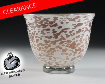 SALE_Free Shipping US ONLY_Handblown Glass Bowl, Creme Brown on Florence . Iridescent. 05_19_15